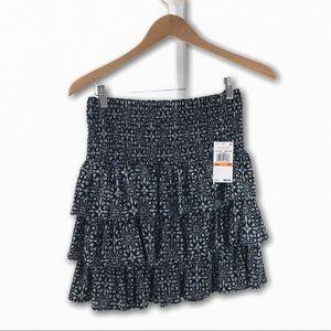 Michael Kors Navy Tiered Ruffle Elastic Skirt S